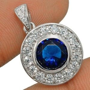 NWT 2ct Deep-Blue Sapphire Sterling Necklace